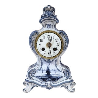 19th Century French Blue & White Hand-Painted Delft Clock