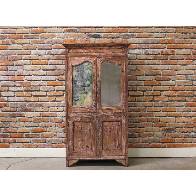 Vintage Pink Armoire with Handpainted Glass Panel - Image 2 of 6