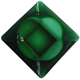 Vintage Mid-Century Emerald Green Glass Ashtray