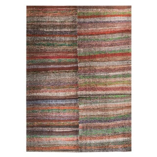 Vintage Turkish Striped Rag Rug - 7′9″ × 11′10″