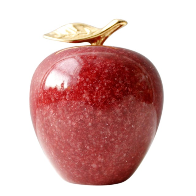 Vintage Marble & Brass Apple Paperweight - Image 1 of 4