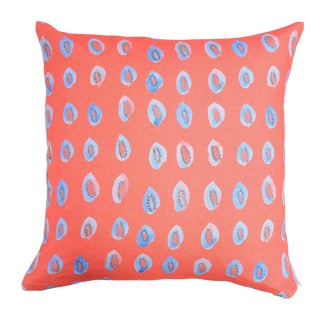 "Blue Kiwis on Bright Coral Linen Pillow - 18"" x 18"""