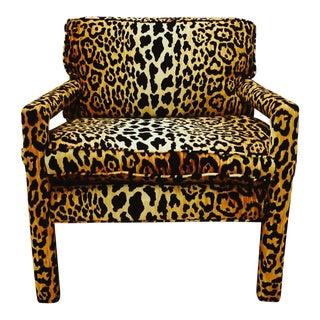 Mid-Century Leopard Baughman Style Parsons Chair