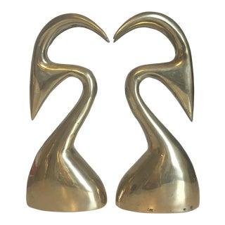 Mid-Century Modern Brass Gazelle Bookends