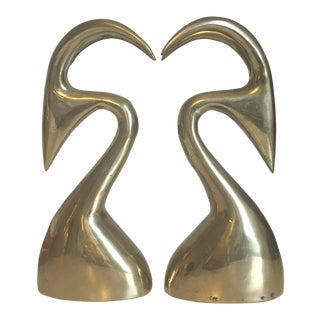 Mid-Century Modern Brass Gazelle Bookends