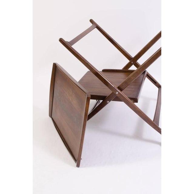 Danish Folding Walnut Bar Cart with Serving Tray - Image 5 of 10