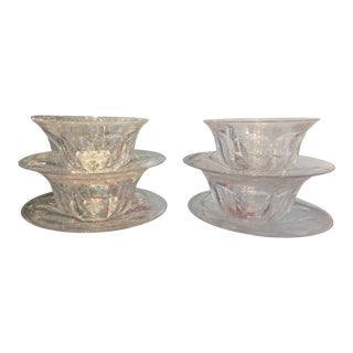 Antique Hawkes Crystal Art Deco Bowls & Under Plates - Set of 4