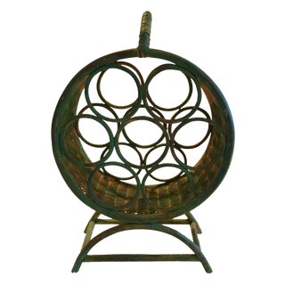 Green Wicker Wine Rack