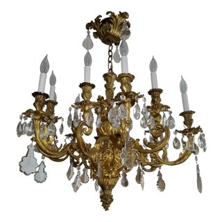 Antique Italian Solid Bronze Chandelier With Illustrious Provenance