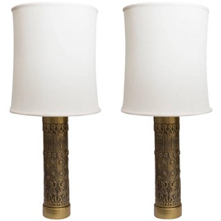 Pair of Mid-Century Brass Archaic Style Table Lamps