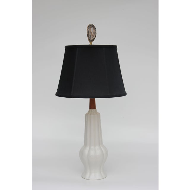 Ribbed White Ceramic Gourd Table Lamp - Image 6 of 6