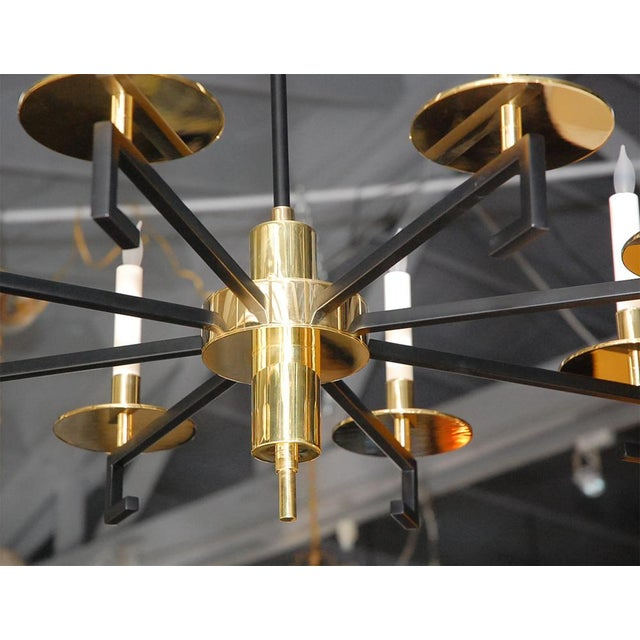 Customizable Paul Marra Design Greek Key Chandelier in Brass - Image 3 of 8
