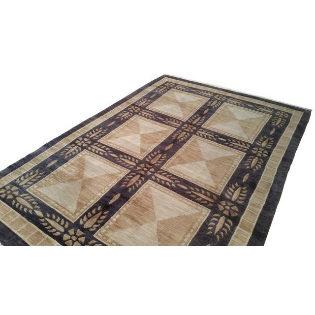Tibetan Handmade Knotted Contemporary Rug - 5′5″ X 8′5″ - Size Cat. 5x8 6x9 - Image 3 of 4