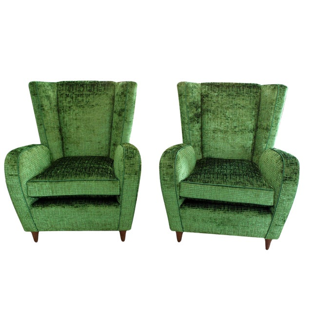 Upholstered Wingback Club Chairs - A Pair - Image 1 of 7