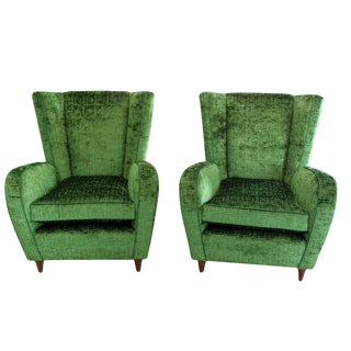 Upholstered Wingback Club Chairs - A Pair
