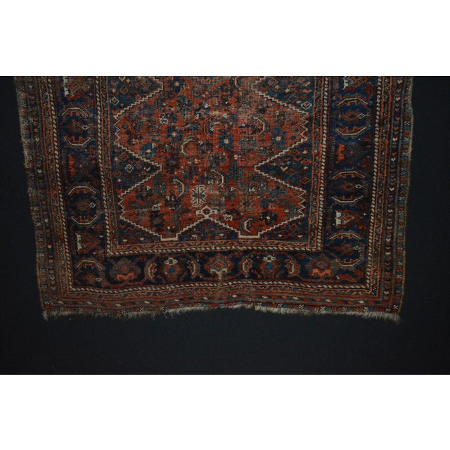 "Distressed Antique Persian Tribal Rug - 3'7"" X 4'9"" - Image 5 of 9"