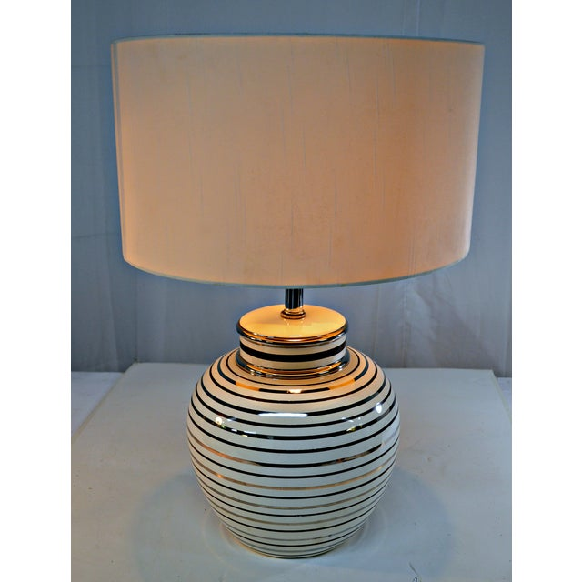 Mid Century Bowl Table Lamp & Drum Shade - Image 3 of 10