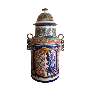 Tall Portuguese Glazed Container