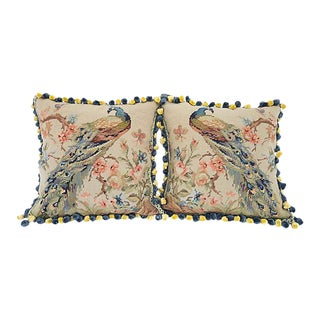 Peacock Needlepoint Pillow Covers - Pair