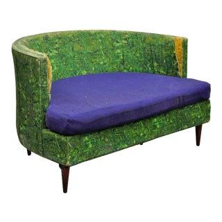 Vintage Selig Mid-Century Modern Green & Blue Oversized Wide Barrel Lounge Chair