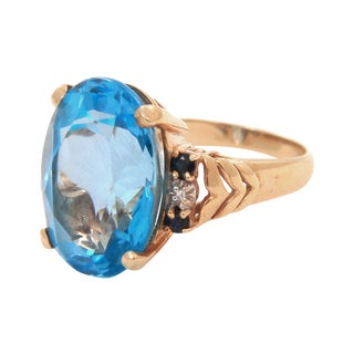 14Kt Gold Cocktail Ring with Aquamarine Stone