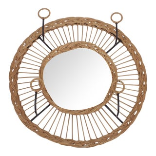Vintage Mid-Century French Rattan Mirror