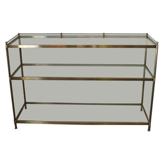 3-Tiered Brass and Glass Console