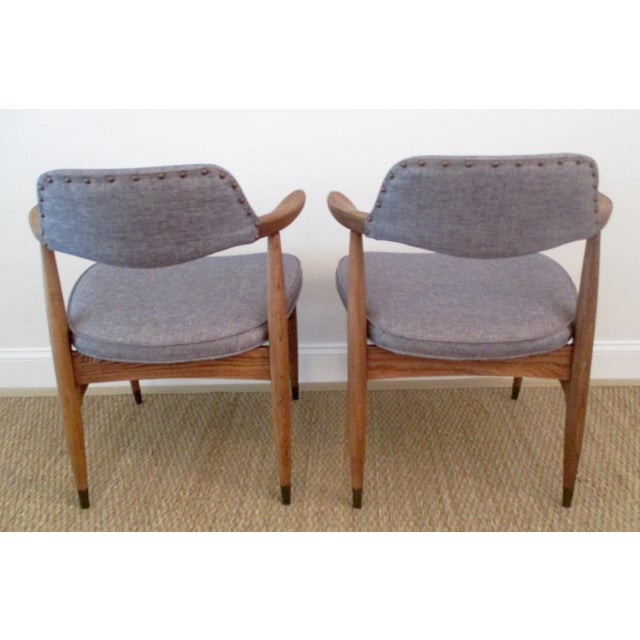 MCM Reupholstered Oak Chairs by Paoli - A Pair - Image 3 of 8