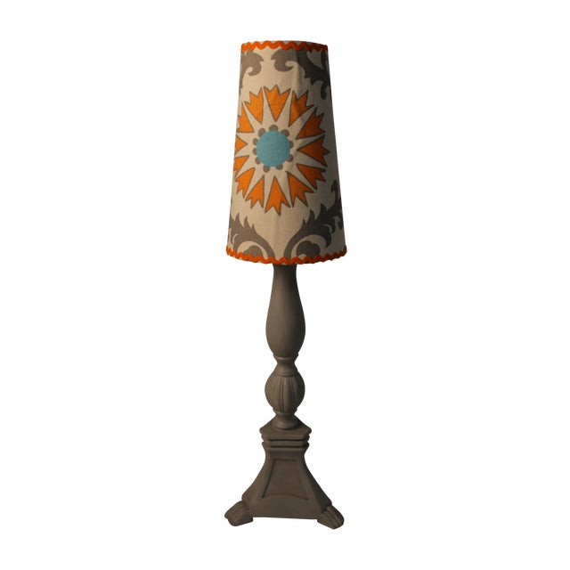 Image of Grey Lamp With Decorative Shade
