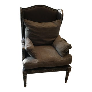 Gray Upholstered Rustic Wood Accent Chairs - Pair