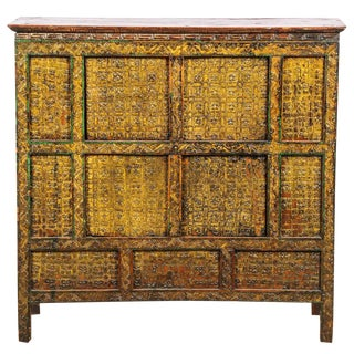 Antique Yellow Painted Tibetan Cabinet