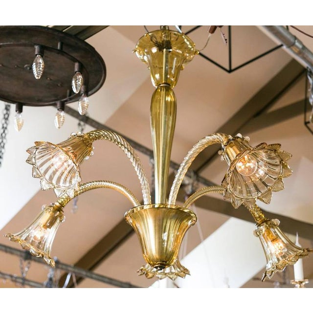 Olive Colored Murano Glass Down-Light Chandelier circa 1930 - Image 2 of 3