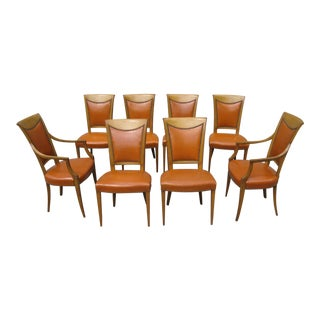 Burnt Orange Upholstered Dining Chairs - Set of 8