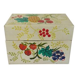 Tin Recipe Box With Fruit