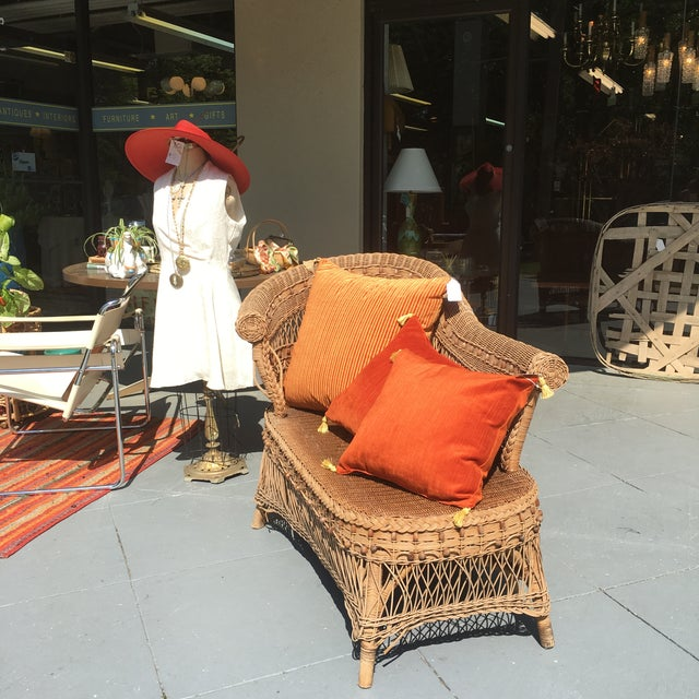Vintage Boho Wicker Chaise Lounge - Image 4 of 4