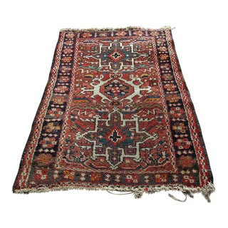 Vintage Red Persian Wool Area Rug - 1'10x1'11