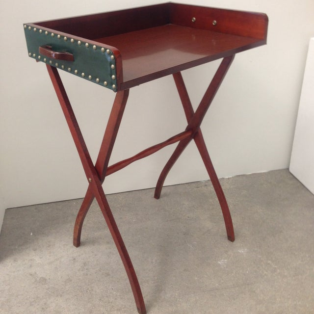 Mid-Century Leather Butler's Tray Table - Image 2 of 6