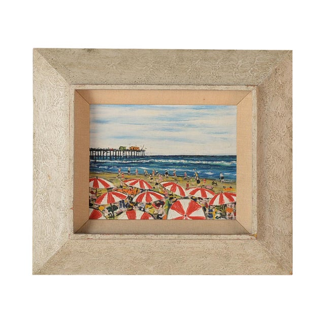 Santa Monica Pier Beach Scene 1950s Oil Painting - Image 1 of 10