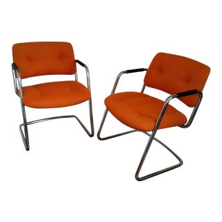 Orange Chrome Steelcase Cantilever Chairs - A Pair