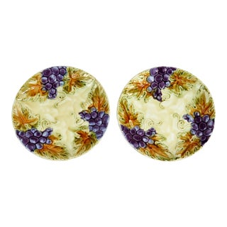 French Grape Majolica Plates - A Pair