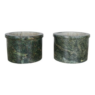 Pair of French Green Marble Cachepots