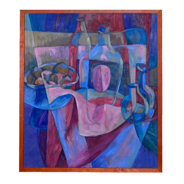 Image of 1950s Cubist Still Life Oil on Board