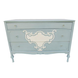 Vintage Blue Cottage Coastal Dresser