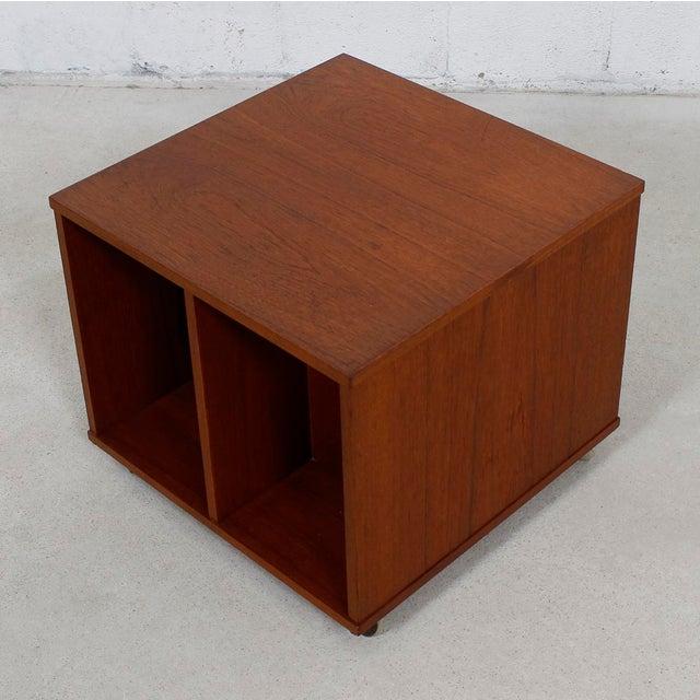 Rolling Vinyl / Book Caddy / Multifunctional Storage Cube in Teak - Image 5 of 10
