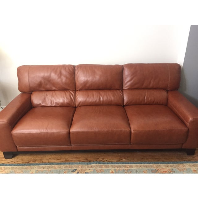 Brown Leather Couch - Image 2 of 4