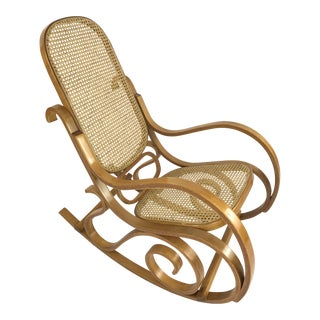 Vintage Bentwood & Cane Rocking Chair In The Style of Michael Thonet