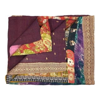 Blocks of Color and Pattern Vintage Kantha Quilt