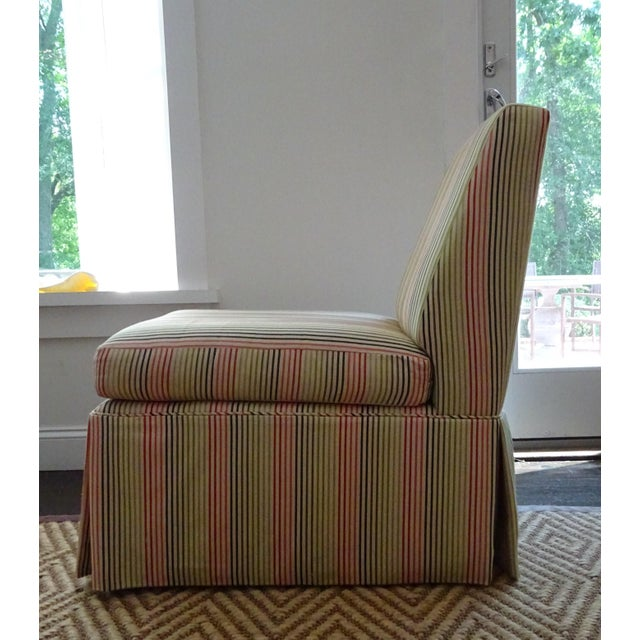 Stripped High Back Slipper Chair - Image 5 of 7