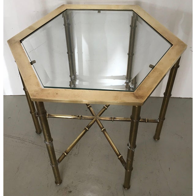 Mastercraft Brass Faux Bamboo Hexagonal Accent Table - Image 3 of 5