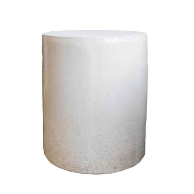 Chinese Off White Clay Round Garden Stool - Image 1 of 4